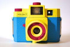 Vintage Holga 120 CFN Camera, Yellow, Red, Blue