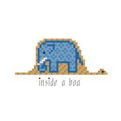 Cross stitch pattern PDF - Elephant inside a boa