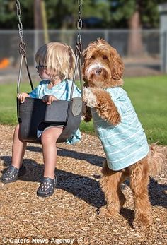 Insperable: Buddy and Reagan play on swings...