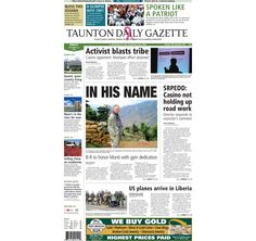 The front page of the Taunton Daily Gazette for Friday, Oct. 10, 2014.