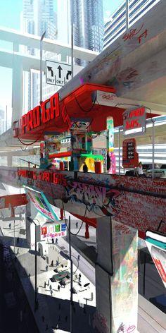 Sunset Overdrive, Cyberpunk Rpg, Cyberpunk Aesthetic, Environment Concept Art, Environment Design, Arte Sci Fi, Sci Fi City, Wallpaper Animes, Fantasy Concept Art