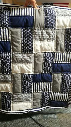 Nautical baby quilt I just finished for a friend. Easy pattern just cut up rectangles and priced together Nautical baby quilt I just finished for a friend. Easy pattern just cut up rectangles and priced together Rag Quilt, Scrappy Quilts, Easy Quilts, Owl Quilts, Crib Quilts, Baby Patchwork Quilt, Block Quilt, Jellyroll Quilts, Quilt Blocks