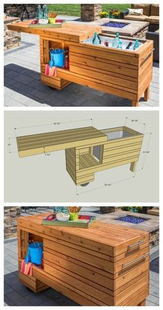 DIY Outdoor Serving Center :: FREE PLANS at buildsomething.com #woodworking (pallet deck furniture console tables) #outdoordiy