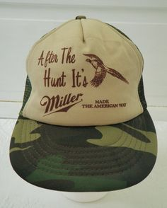 a3fb579806f Miller Beer Camo Snapback Trucker Hat Vintage Hunting After The Hunt its  Miller Made the American