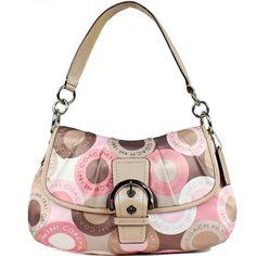 New Authentic COACH Signature Soho Sateen Pleated Snaphead Flap Bag Multi Pink 18420 w/COACH Receipt  $348.00 $278.40