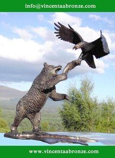 Garden decoration brass eagle sculpture & bear sculputre for sale