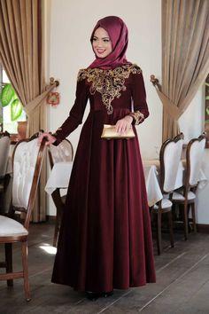 Mevra - Fulya Kadife Elbise Bordo