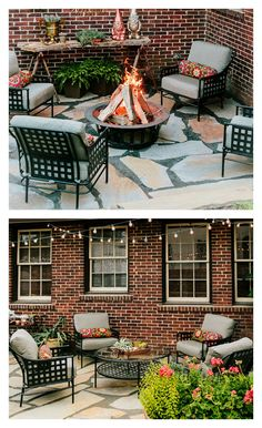 This patio design splits the space into two seating areas, including a cozy fire pit lounge. Andrea Crawford of Couture House Interiors created a truly remarkable outdoor space. See it all on The Home Depot Blog. || @couturehouseint