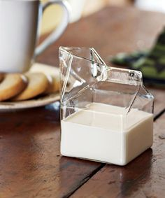 Glass Milk Carton Set .. So cUte, I want these!! #glass #milk #cartons #modern #design
