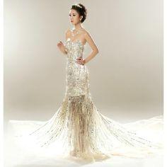 Handmade Couture Champagne Crystal Mermaid Bridal Wedding Dresses SKU-117173