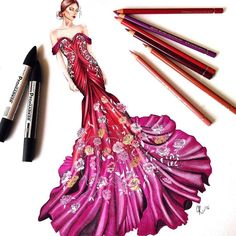 Repost from @drawingfeever  Today I designed this gown I was inspired by all the…
