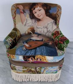 Suzie Stanford embroidered canvas tapestry chairs. All the canvases are collected from auction houses, vintage markets and second hand shops around the world.