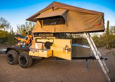 Posted in Rides and TrailersDesigned to haul your toys as well as everything you need for comfortable camping, the Turtlebacker flatbed camper trailer is an all-terrain adventure rig built on a … Used Camping Trailers, Camping Trailer Diy, Off Road Camper Trailer, Camper Trailers, Camping Hacks, Trailer Build, Tent Campers, Rv Trailer, Travel Trailers