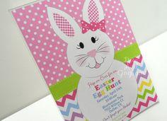Easter Birthday Invitation-Easter Egg Hunt Invitation-Bunny Invite-Easter-Chevron Bunny Invite- Easter Bunny Invite-Easter Egg Hunt Invite