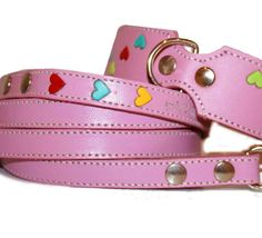 Tuff Love Leather Dog Collar and Leash Set  with  Hearts - Pink.