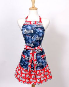 NFL New England Patriots Womens Apron Retro Blue and by apronqueen, $27.95