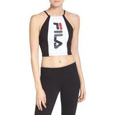 Women's Fila Pipa Crop Top (€35) ❤ liked on Polyvore featuring tops, halter crop top, fila, tie halter top, logo top and wet look top