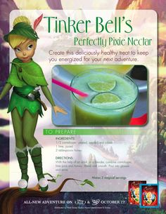 Tinker Bell Pixie Nectar Recipe : Printables for Kids – free word search puzzles, coloring pages, and other activities Disney Themed Food, Disney Inspired Food, Disney Food, Disney Recipes, Disney Play, Disney Dishes, Pixie Hollow Party, Comida Disney, Disney Drinks
