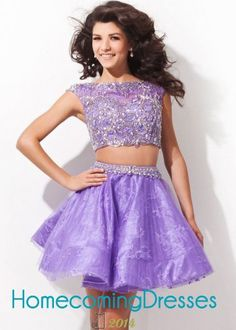 Two-piece Short Illusion Jeweled Purple Homecoming Dresses