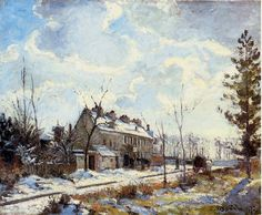 View Louveciennes Road: Snow Effect by Camille Pissarro