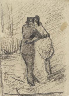 Van Gogh Museum Happy Valentine's day! Image: Vincent van Gogh A Man and a Woman Seen from the Back, Van Gogh Museum, Amsterdam. Vincent Van Gogh, Artist Van Gogh, Van Gogh Art, Van Gogh Drawings, Van Gogh Paintings, Theo Van Gogh, Van Gogh Museum, Art Van, Alphonse Mucha