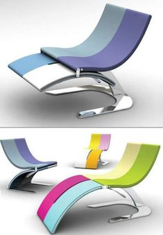 Some really cool design ideas: folding chairs, folding bath, cool light, pizza scissors,. Funky Furniture, Unique Furniture, Contemporary Furniture, Furniture Design, Colorful Chairs, Cool Chairs, Indoor Outdoor Furniture, Outdoor Decor, Modern Chairs