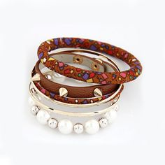 Punk Style Personality Pearl Multilayer Leather Bracelet