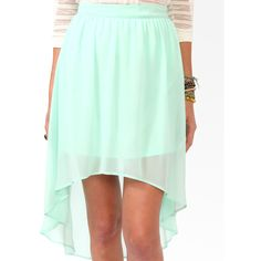 High-Low Chiffon Skirt ($15) ❤ liked on Polyvore(if my legs ever look that good!)
