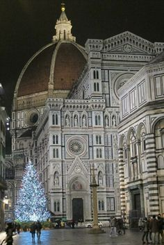 Christmas tree at the cathedral of Santa Maria Del Fiore in Florence, Italy.