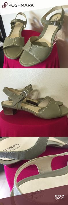EASY SPIRIT Moss Green Walking Sandal 7.5 NWOT Label-Easy Spirit Comfort Style- ESDREDA Summer Low Heeled walking Sandal, Silver ankle strap hardware  Size-7.5B  Heel height- 1.75 Color-Moss Green, Cream Stitching       Fabric-Leather  Condition-New Without Tags, no issues, perfect condition Origin-Brazil Easy Spirit Shoes Sandals