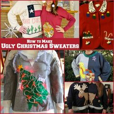 Store-bought sweaters are too unoriginal for such a fun party theme idea. And honestly, these trendy sweaters can be hard to find at your local thrift shop! We say, opt for DIY ugly Christmas sweaters instead. Tacky Christmas Party, Christmas Crafts To Make, Holiday Fun, Christmas Holidays, Christmas Stuff, Christmas Clothes, Christmas Decor, Making Ugly Christmas Sweaters, Homemade Ugly Christmas Sweater