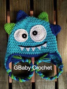 Crochet baby monster hat blue 05T by GBabyCrochet on Etsy