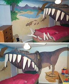 10 Most Creative Beds The T-Rex bed is pretty friggin awesome. But there are some other cool beds on there tooThe T-Rex bed is pretty friggin awesome. But there are some other cool beds on there too Awesome Bedrooms, Cool Rooms, Kid Rooms, Dinosaur Bedding, Dinosaur Bedroom, Creative Beds, The Meta Picture, Kids Room Design, Cool Beds