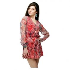 Adam n eve Multi Print Chiffon Cocktail Dress Viscose