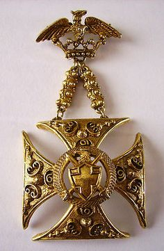 SIGNED VTG FLORENZA MALTESE CROSS MEDAL PIN BROOCH SHIELD EAGLE CREST CROWN