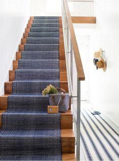 Dash & Albert Europe - Herringbone Indigo Cotton Rug (as Stair Runner) Style At Home, Stair Runner Installation, Staircase Runner, Navy Stair Runner, Carpet Runner On Stairs, Stairway Carpet, Hallway Runner, Hall Carpet, Runners For Stairs