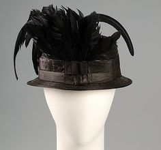Hat 1915, American, Made of silk, straw, and feathers