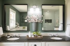 Double sinks -- look like two sinks (Episode 05 - The Graham House - Magnolia Market) Bathroom Niche, Small Bathroom, Master Bathroom, Bathroom Storage, Bathroom Ideas, Shower Ideas, Bathrooms, Modern Home Furniture, Bathroom Furniture