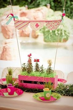 Centerpieces - painted wooden crates, potted flowers and a bunting.