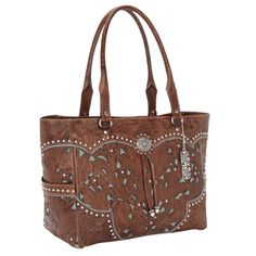 Lady Lace Antique Brown and Turquoise Leather Carry-On Tote