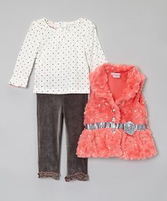 Look what I found on #zulily! Coral Sequin Faux Fur Vest Set - Toddler & Girls by Little Lass #zulilyfinds