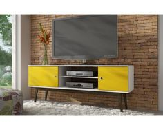 Salem TV Stand White & Yellow, Entertainment Centers -  Manhattan Comfort, The Dining Room Table - 1