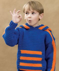 Free pattern  Sports Crochet Hoodie