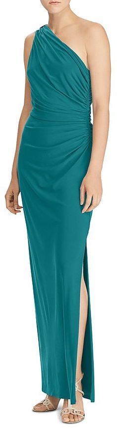 Lauren Ralph Lauren One Shoulder Ruched Gown with Brooch. Ralph Lauren fashions. I'm an affiliate marketer. When you click on a link or buy from the retailer, I earn a commission.
