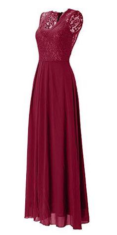83eb4ab7afb Amazon.com  TOPMELON Women s Sleeveless V Neck Lace Long Vintage Evening  Formal Maxi Dresses  Clothing