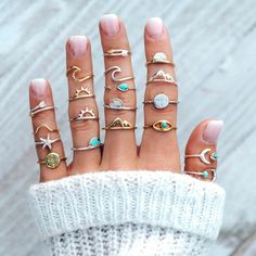 19 Pcs/set Fashion Rings Gold Silver Gem Pentagram Ocean Wave Arrow Moon Finger Ring Set Women Charm Part Shop & Buy Jewelry Sets Online Jewelry Party, Cute Jewelry, Jewelry Sets, Jewelry Accessories, Women Jewelry, Accessories Online, Jewelry Rings, Jewelry Tree, Jewelry Holder