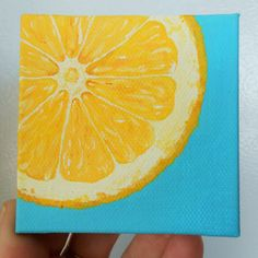 Lemon Slice Painting, Slice of Fruit Art, Mini Painting, Yellow and Turquoise…