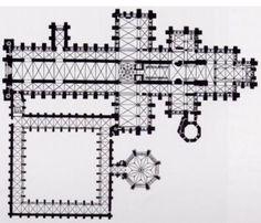 Planta de la catedral de Salisbury. (1220-1266).  En planta difiere de las catedrales francesas porque presenta todos los elementos que singularizan las catedrales inglesas: cabecera recta, doble crucero, nave central muy alargada y dos dependencias anejas características: claustro y sala capitular.