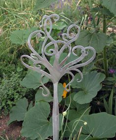 Tree Garden Stake Polished Aluminum by REFINERII on Etsy, $55.00