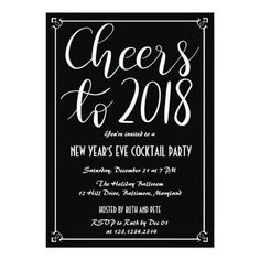 Holiday christmas party wreath black red green card holidays diy cheers to 2018 elegant black new year party card solutioingenieria Image collections